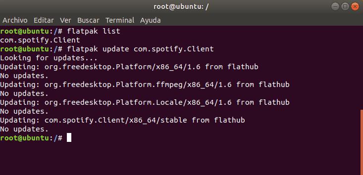Actualización de Flatpaks