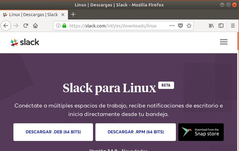 Descargar Slack para Linux