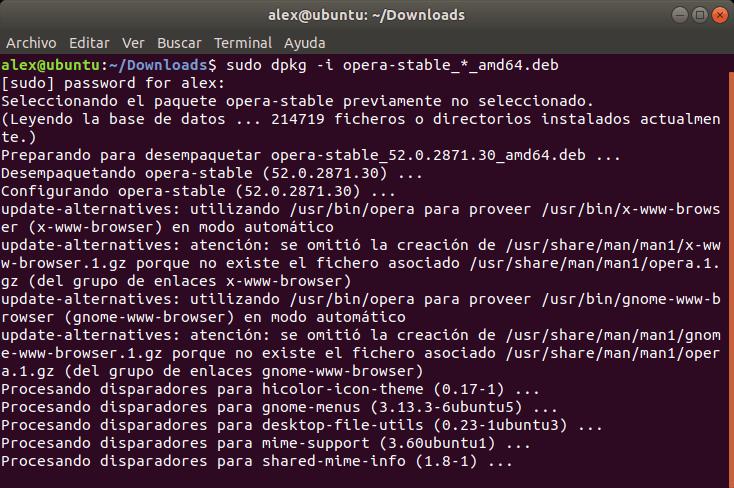 Instalar Opera en Linux Ubuntu
