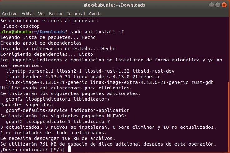 Instalar dependencias de Slack