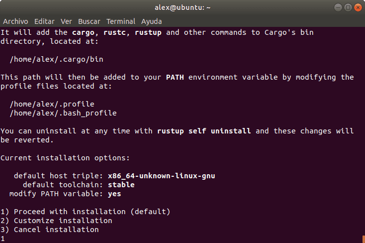 Variable PATH Rust Linux