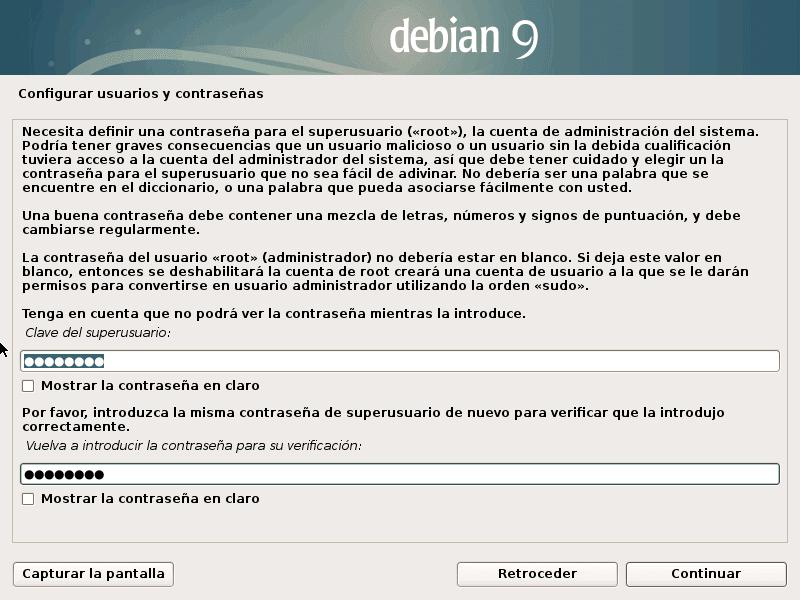 Configurar Usuario y Contraseña en Debian