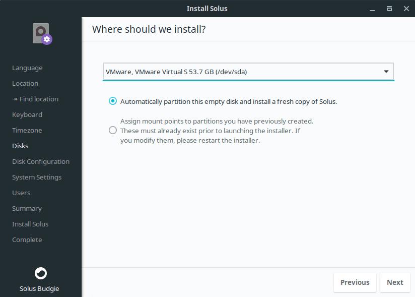 Instalar en disco Solus Linux