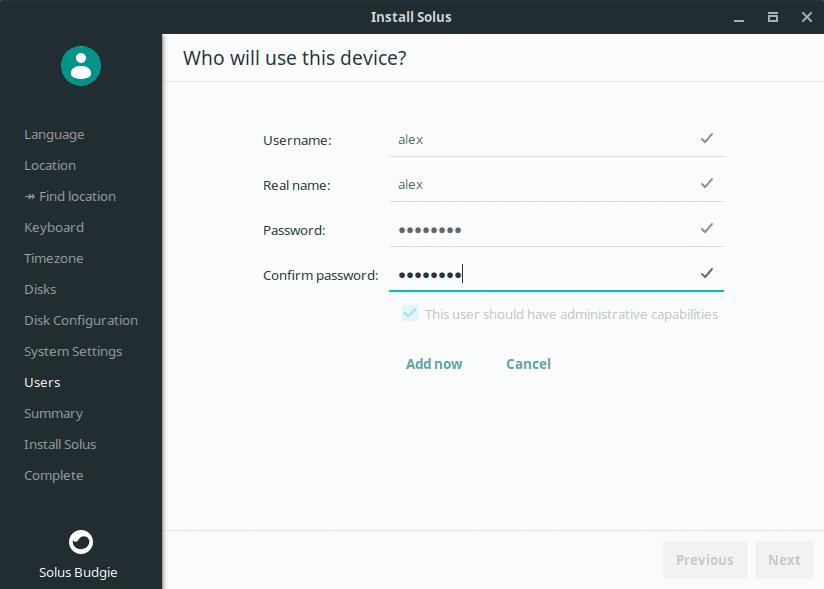 Nombre de usuario Solus Linux