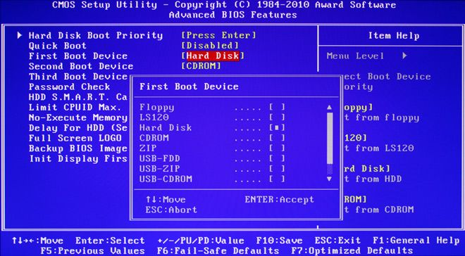 Orden boot USB BIOS