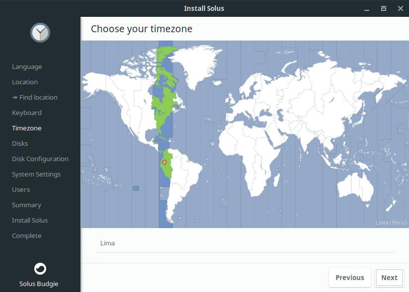 Selección Zona Horario Solus Linux