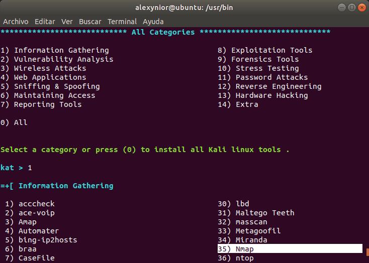 Categorías de herramientas de Kali Linux