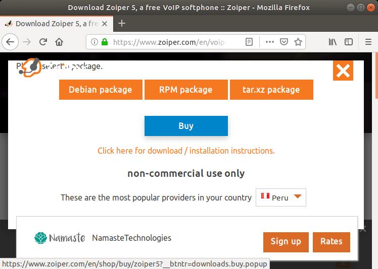 Descargar paquete Deb de Zoiper