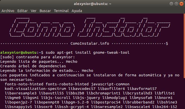 Instalar GNOME Tweak Tool con comandos