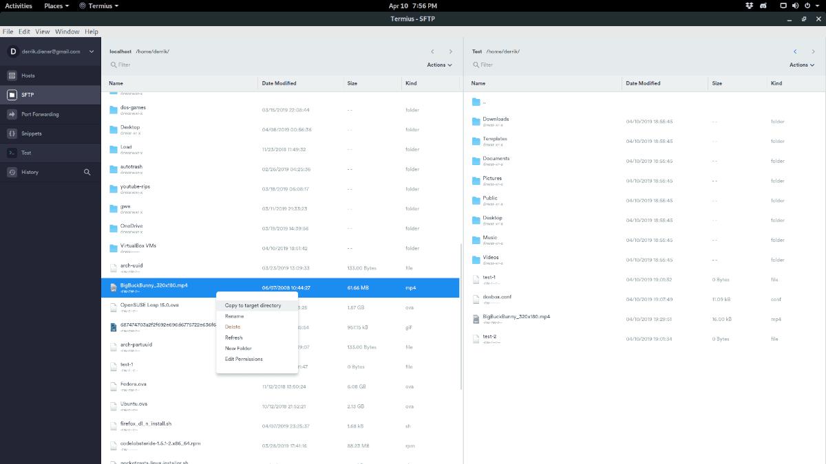 Termius - Transferir archivos