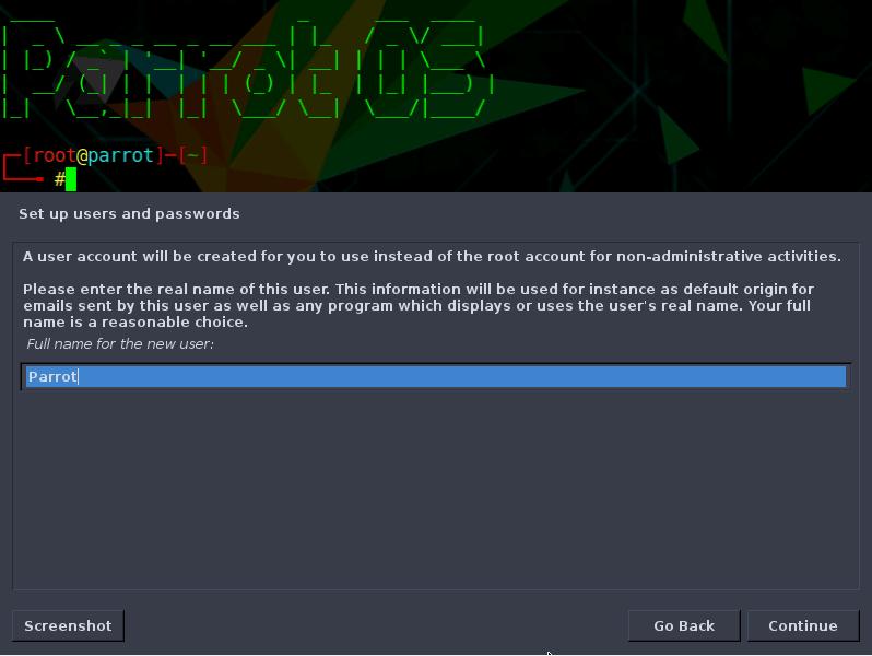 Configure nombre de usuario y contraseña.
