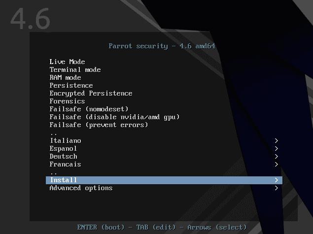 Instalar Parrot Sec OS