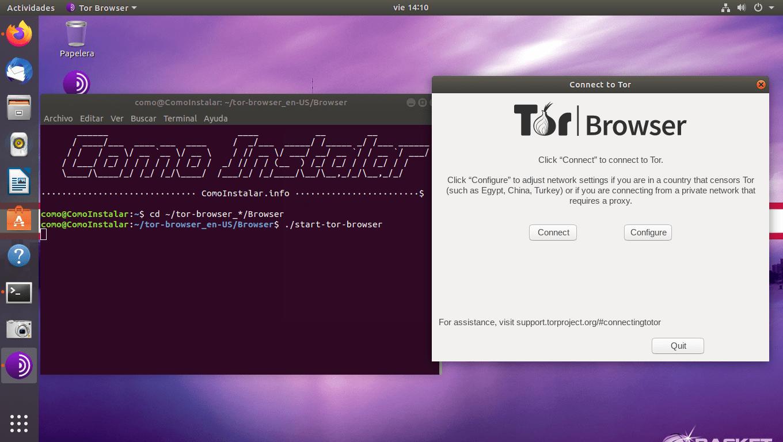 Instrucciones de terminal como instalar el paquete de navegador Tor en Ubuntu