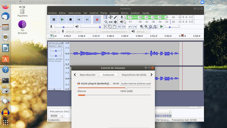 Grabación Pavu Control y Audacity